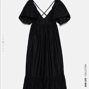 Zara openwork embroidered black dress